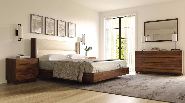 sloane floating bed in walnut bedroom more san carlos